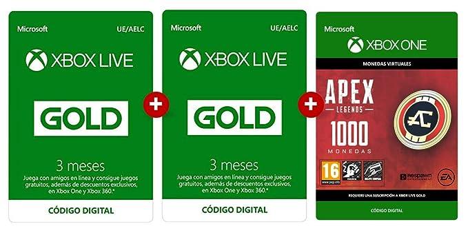 Suscripción Xbox Live Gold 3 Meses + 3 Meses + Apex 1000 ...
