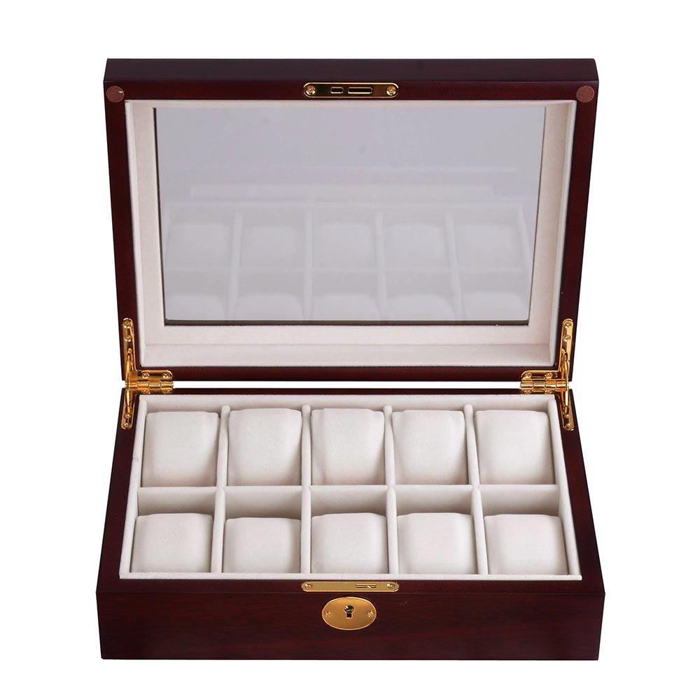 amazoncom yescom 10 slot wood watch display case glass top jewelry collection storage box organizer c home u0026 kitchen