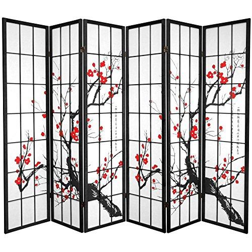 Oriental Furniture 6 ft. Tall Flower Blossom Divider - Black - 6 - Room Type Office Dividers