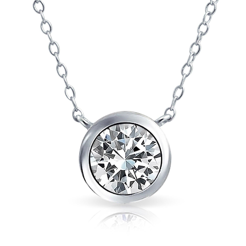 93ed70c5565f Amazon.com  1 Ctw Solitaire Round Cubic Zirconia CZ Bezel Set Slide Pendant  Necklace For Women Girlfriend 925 Sterling Silver  Solitaire Diamond  Necklace  ...