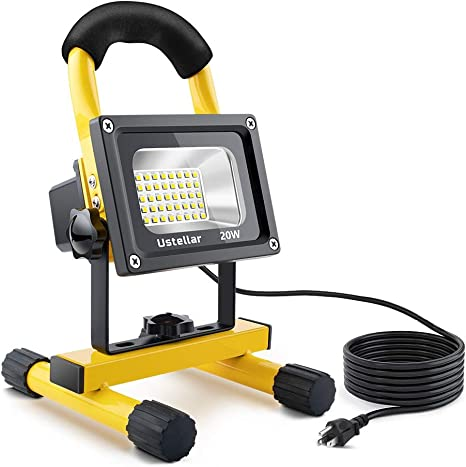 Ustellar 1600lm 20w Led Work Light 150w Equivalent Waterproof Portable Led Flood Lights 16ft 5m Cord With Plug Stand Industrial Working Light For
