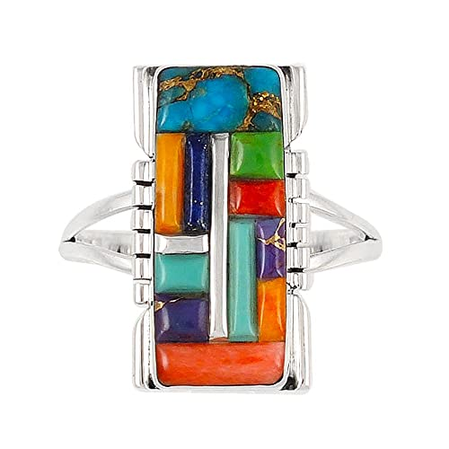 925 Sterling Silver Ring with Genuine Turquoise and Semiprecious Gemstones Size 5 to 12