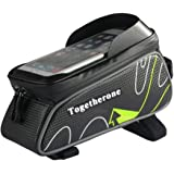 自転車トップチューブバッグ フレームバッグ 収納可能 防水 サドルバッグ フロントバッグ かんたん装着 サイクリング用 6.0インチ対応 iPhone6 6S/Samsung/Sonyなど対応 全4色