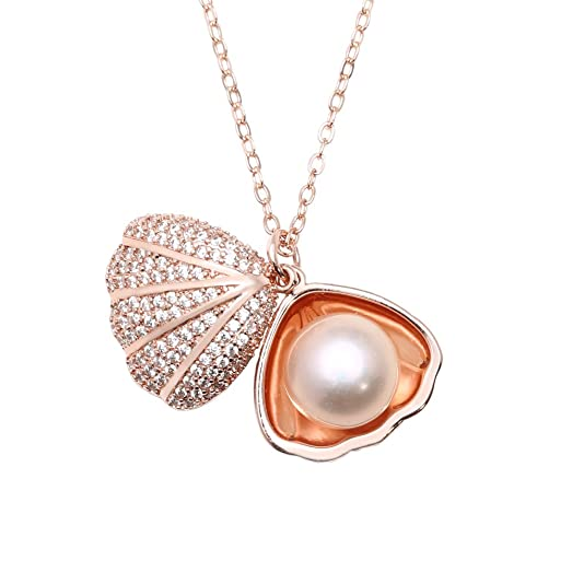 Amazoncom Women cultured Pearl Seashell Pendant Necklace 18K Rose