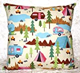 Throw Pillow Cover – Cushion Cover – Fits 14″x14″, 16″x16″ or 18″x18″ Pillow Form – RV Camping Decor