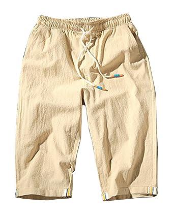 f6451fd2f28d7 LaoZanA Homme Shorts Bermudas Pantacourt De Plage Pantalon en Lin Sarouel Décontracté  Léger Confortable Respirant: Amazon.fr: Vêtements et accessoires