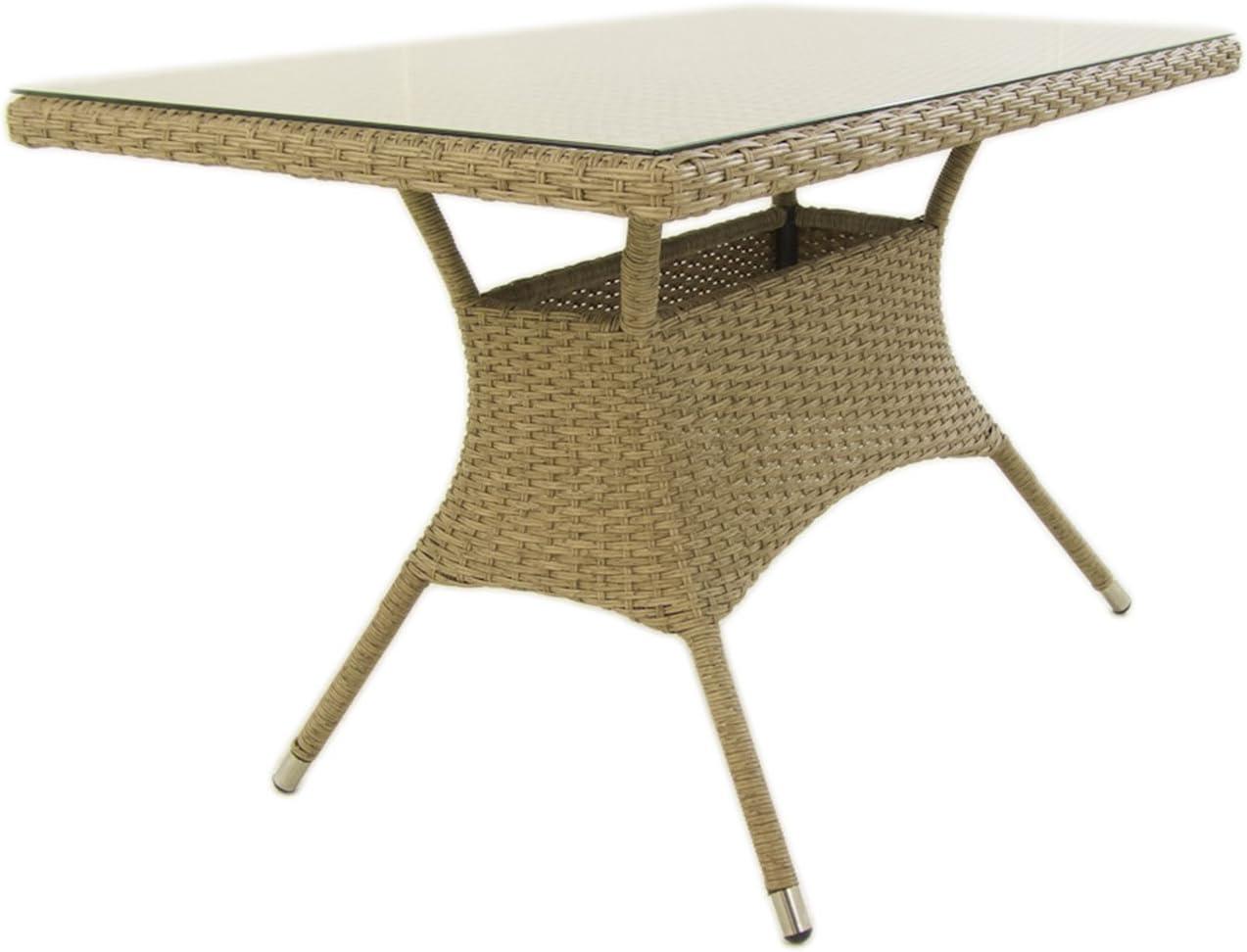 Mesa de jardín Rectangular, Tamaño: 120x70x74 cm, Aluminio y ratán ...