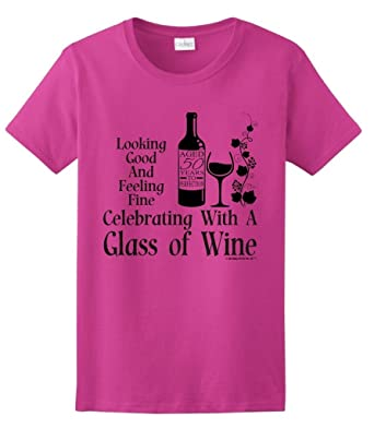 Birthday Gifts For All 50th Celebrating Glass Wine Ladies T Shirt Small Hlcna