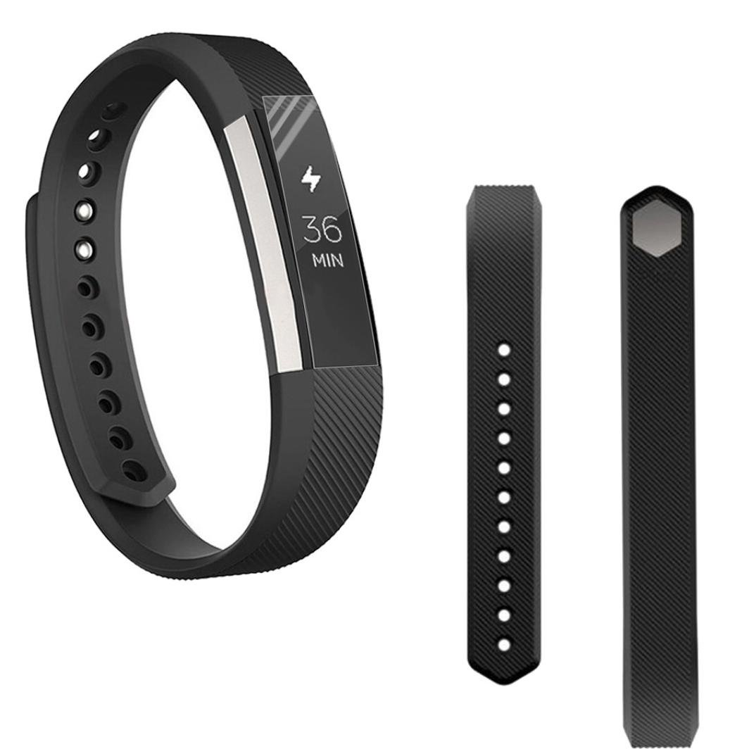 For Fitbit ALTA交換用バンド、hp95 ( TM )スポーツソフトシリコン手首ストラップ+ HDプロテクターfor Fitbit ALTA A ブラック HP-Fitbit AltaBand  ブラック A B075K979C7