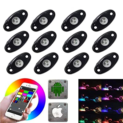 LED Rock Light Kits with 6/8 Pods RGB Lights for for Trucks, Jeeps, SUV, ATV - Offroad, Crawling, Climbing Waterproof, SoundSync, Bluetooth App Controls Lamp Waterproof (12 pod): Automotive