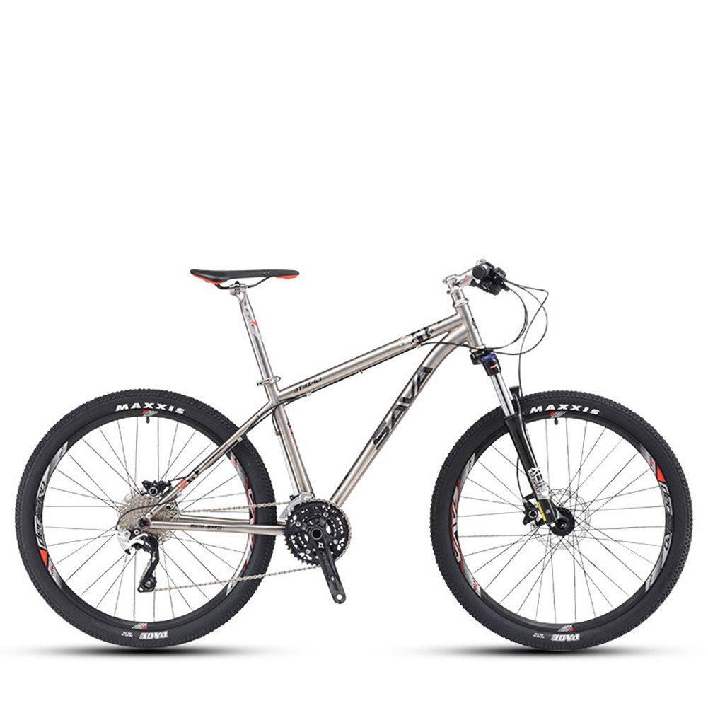 自転車 マウンテンバイク チタン合金フレーム 超軽量 ダブルオイルディスクブレーキ 自転車30速シマノXT変速 26インチ B078PX9F8M