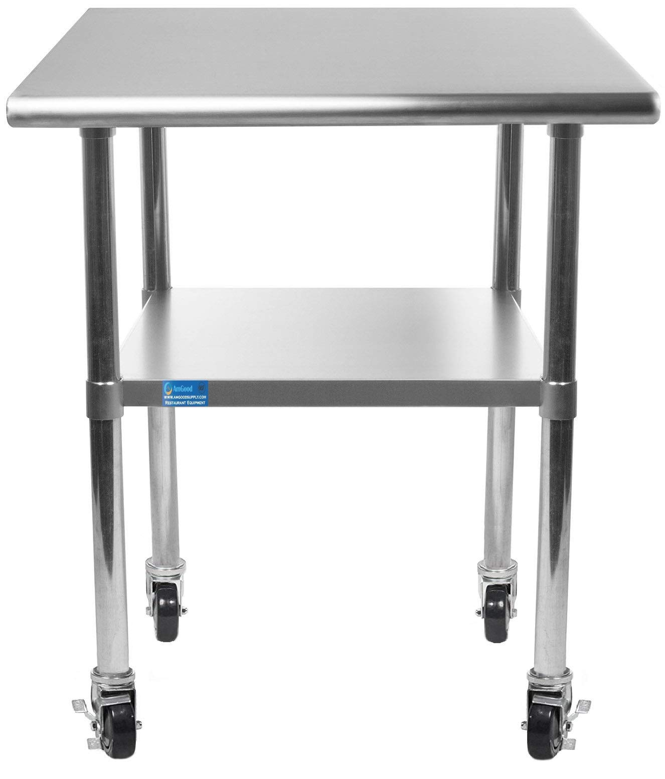 AmGood Stainless Steel Work Table - with Undershelf & Casters (Wheels) | Food Prep | Utility Work Station | NSF Certified | All Sizes (12'' Length X 24'' Width)