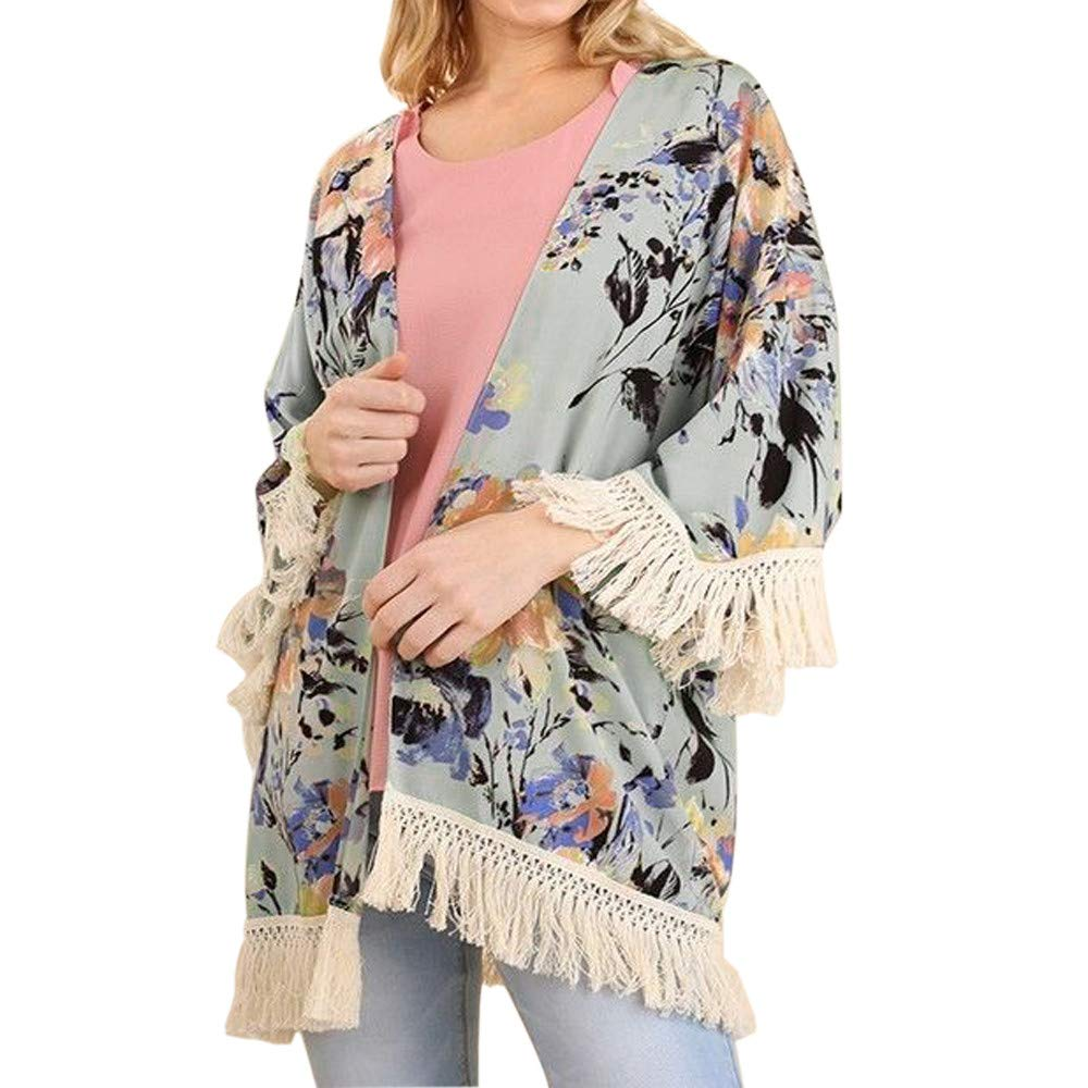 ESAILQ Womens Three Quarter Sleeve Floral Printed Shawl Tassel Kimono Cover Up Cardigan Sale Clearance Womens Clothes Summer Clothes for Women Swing Vest Womens Cotton Shirts Yoga Swing