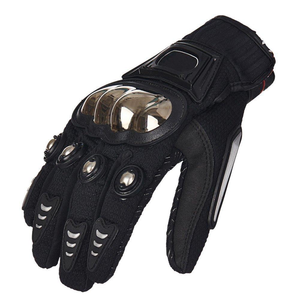 TINTON LIFE® Metal Protective Motorcycle Gloves Full Finger Gloves Summer Motorbike Gloves, Black Medium