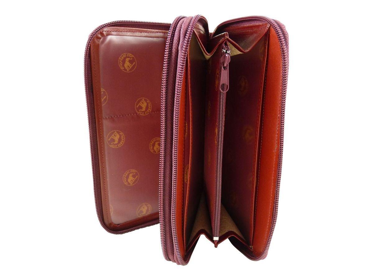 bf80a2393f54 Compagnon Tout en Un avec Porte Chéquier Cuir entièrement zippé Rouge TU   Amazon.fr  Bagages