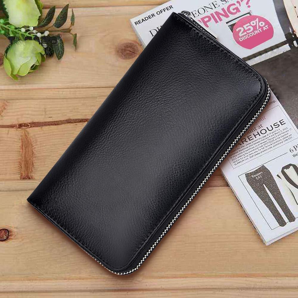 RFID Blocking Leather Wallet 36 Slots Card Holder Large Zipper Purse for Women/Men (Black) by Szezon (Image #5)