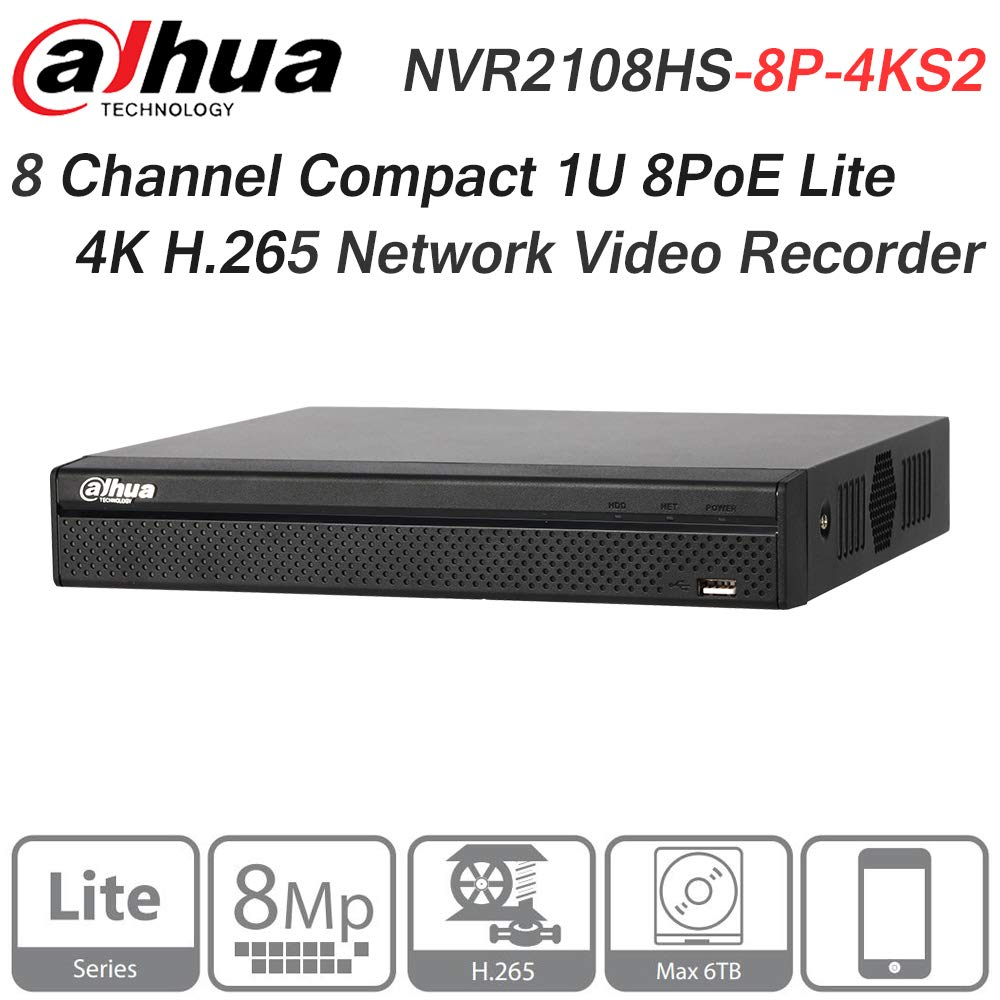 Dahua 8CH NVR NVR2108HS-8P-4KS2 8MP Compact 1U 8PoE Lite 4K H.265 Network Video Recorder ONVIF English Version