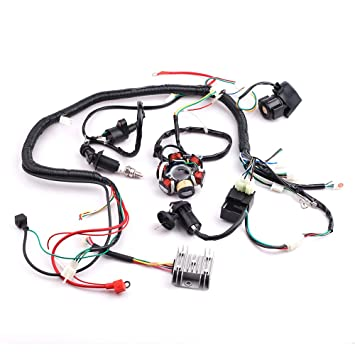 61h0ZFRPPKL._SY355_ amazon com cisno complete electrics wiring harness wire loom gy6 go kart wiring harness at gsmx.co