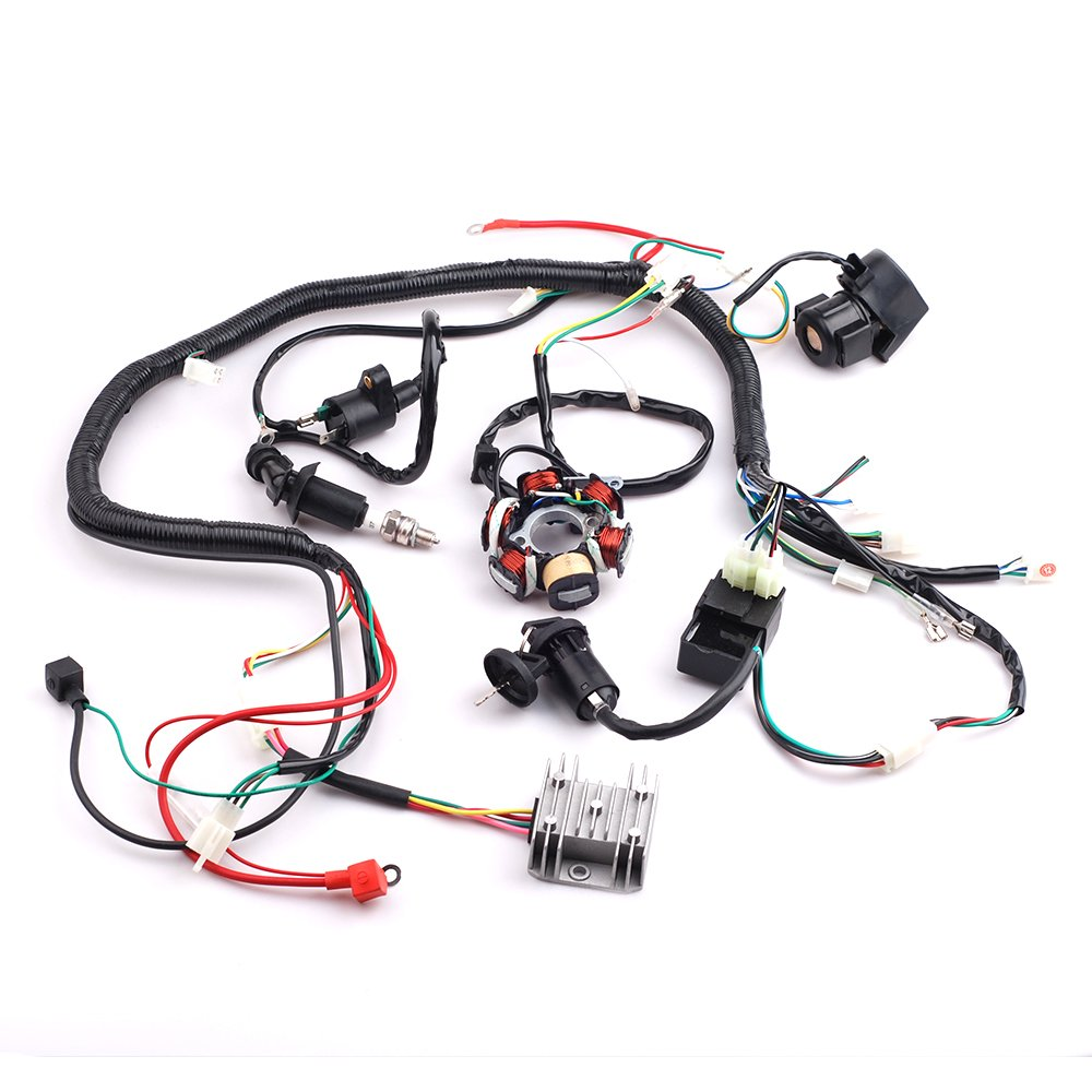 CISNO Complete Electrics Wiring Harness Wire Loom Magneto Stator for GY6 4-Stroke Engine Type 125CC 150CC Pit Bike Scooter ATV Quad