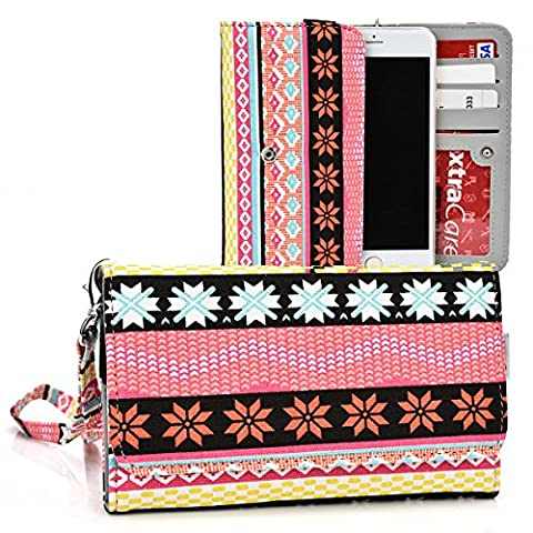 Kroo Multi Tribal Coral | Yellow | Salmon Pink Smartphone Wallet with Bonus Wrist-let fits Apple iPhone 6 6s Plus (Forros Para Zte Boost Mobile)