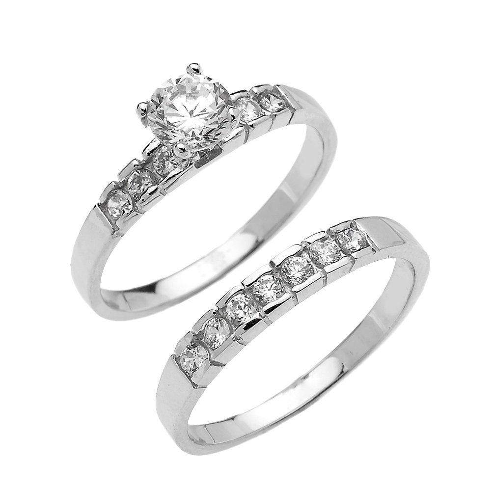 14k White Gold Channel Set Round 1.5 Carat Total Weight CZ Engagement Wedding Ring Set (Size 12)