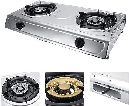 Estufa de Gas de 2 Quemadores de Acero Inoxidable, Hornillo de Gas Dual Quemador de Gas para Cocción Cocina