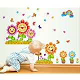 Decals Design 'Smiling Sunflowers Colourful' Wall Sticker (PVC Vinyl, 70 cm x 50 cm)