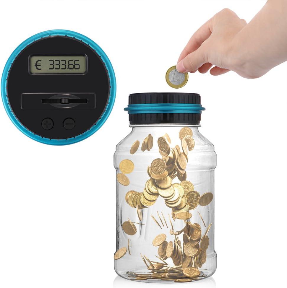 HITECHLIFE Comptant la tirelire avec la bo/îte de rangement de pi/èces de monnaie pour le stockage daffichage LCD