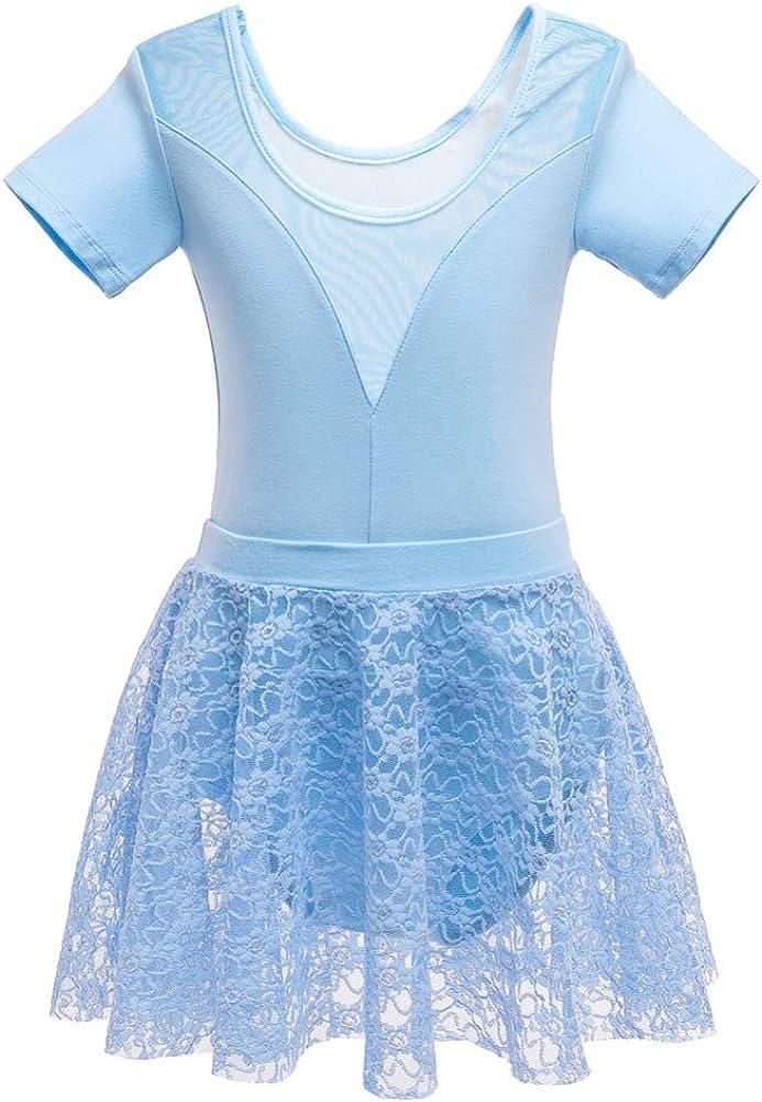 BAOBAOLAI Childrens Girls Cotton Exercise Clothes Lace Decoration Dance Clothes Dress