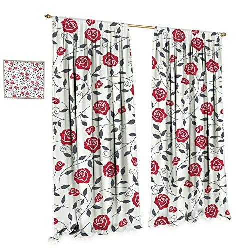 cobeDecor Rose Patterned Drape for Glass Door Abstract Silhouettes Stylized Gardening Bedding Plants Curly Stems Swirls Pattern Waterproof Window Curtain W72 x L84 Dark Coral Grey