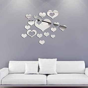 Genial 16PCS Mirror Wall Stickers Heart Shape Large Size, Removable Acrylic Mirror  Wall Decals Wall Art