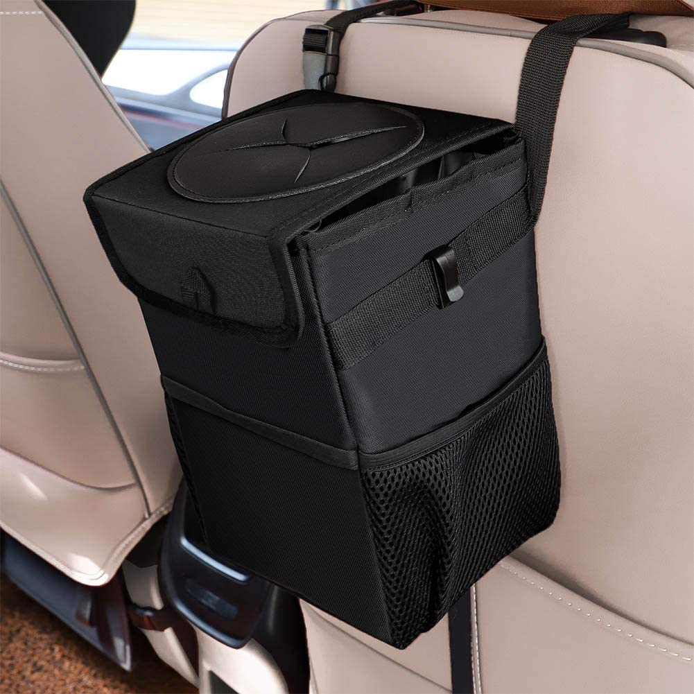 TZOU Car Trash Bag Automotive Garbage Can with Lid Foldable Vehicle Trash Bin Container