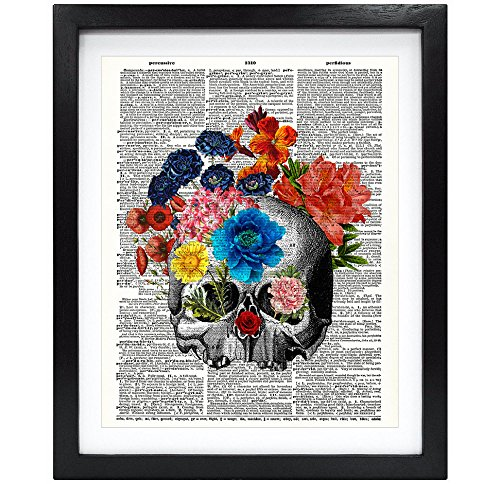 Susie Arts 8X10 Unframed Flowers and Skull Upcycled Vintage Dictionary Art Print Book Art Print Home Decor Wall Art V100
