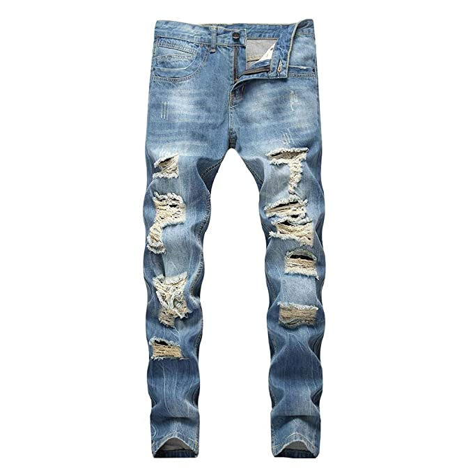 low price sale luxuriant in design rock-bottom price Men's Skinny Jeans Fashion Teen Boys Stretch Slim Fit Ripped Destroyed  Distressed Snow Wash Denim Jeans Pants