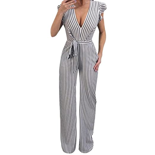 2963a0db28a9 Amazon.com  Women Sleeveless Striped Sexy Blackless Halter Ruffle Jumpsuit  with Wide Leg Trousers by-NEWONESUN  Clothing