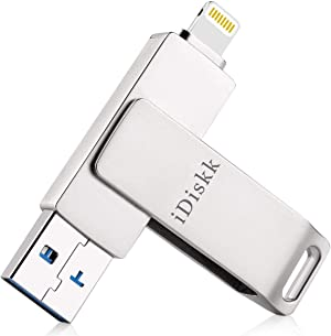 iDiskk MFi Certified Photo Stick 128GB USB Flash Drive Made for iPhone (12 pro/11/XR/X/SE/8/8 plus/7/7 plus/6/5),Work with iPad,MacBook and PC,External Storage for iOS 13/14 and Touch ID Encryption