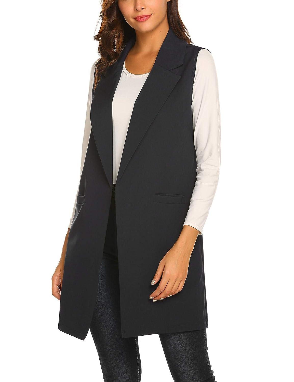9fe8437db26f26 Showyoo Women s Long Sleeveless Duster Trench Vest Casual Lapel Blazer  Jacket at Amazon Women s Clothing store