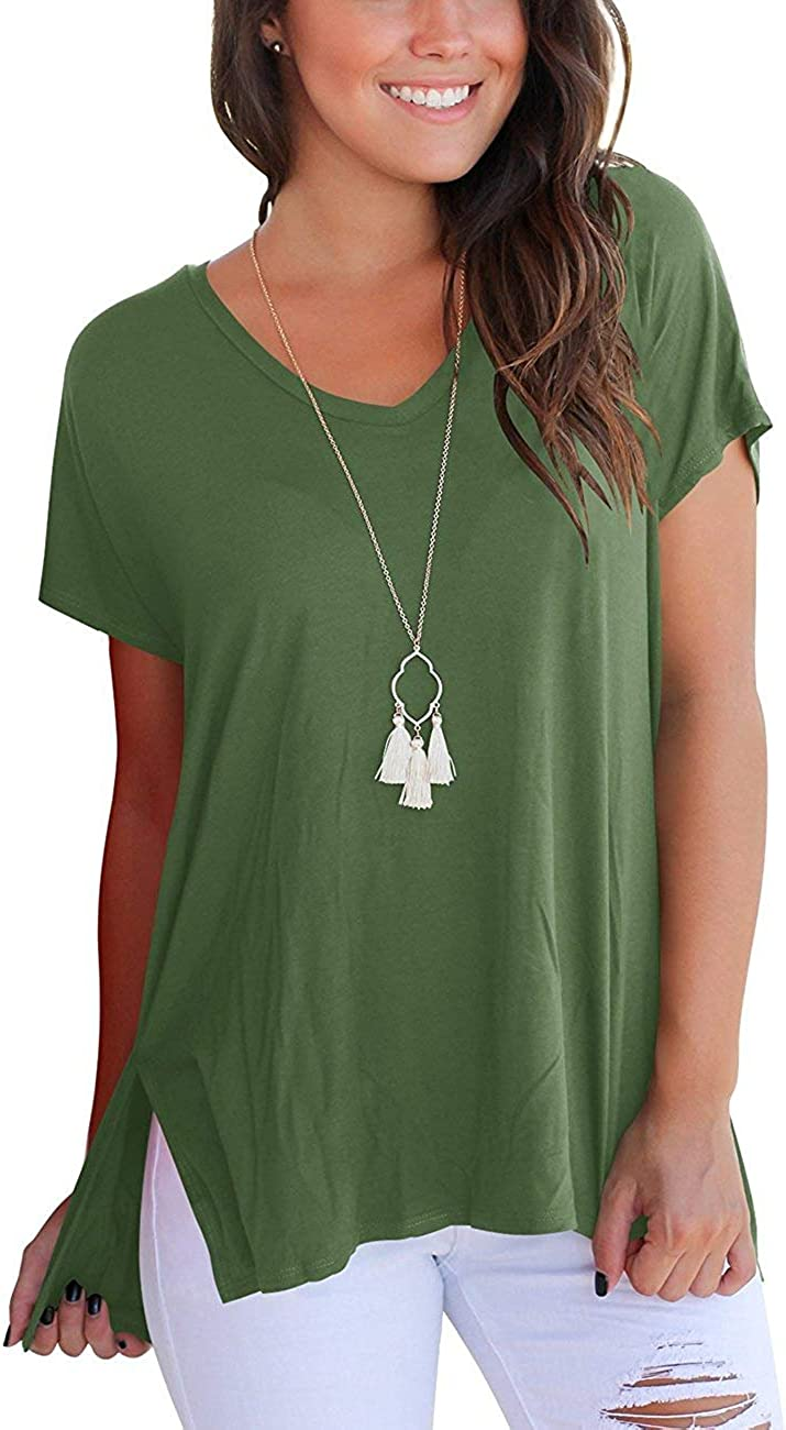 Amazon Com T Shirts For Teens Women S Short Sleeve High Low Loose T Shirt Basic Tee Tops With Side Split Jean Shorts For Teens Xs Army Green Clothing