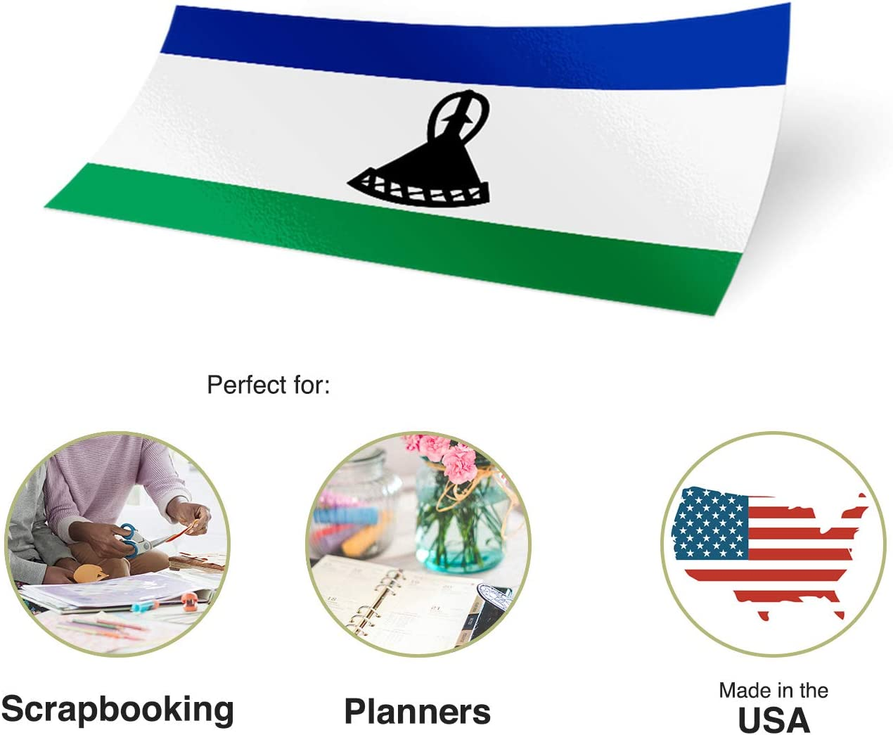 LESOTHO COUNTRY VINYL FLAG DECAL STICKER