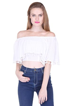 44d6bae0d65808 White Off Shoulder Crop Top With Pom Pom 411  Amazon.in  Clothing    Accessories