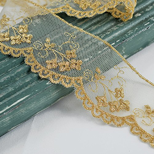 Metallic Gold Flower Embroidered Tulle lace Trim, 1-3/4 Inch by 1 Yard, STEP-3849