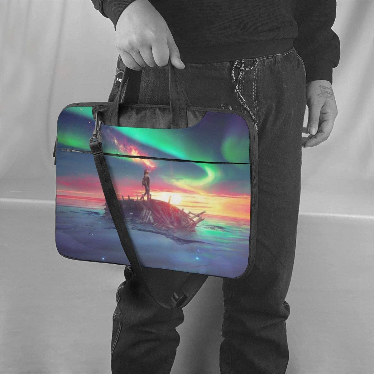 Iridescent Aurora Computer Sleeve Cover with Handle Samsung Asus Laptop Shoulder Bag Carrying Laptop Case 15.6 Inch Business Briefcase Protective Bag for Ultrabook MacBook Sony Notebook
