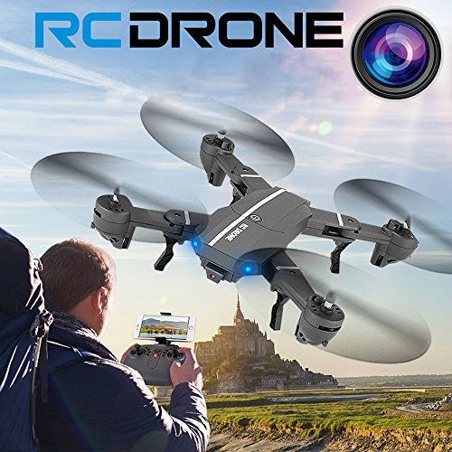 Leegor Leegor 2.4G 4Ch Altitude Hold Wide-Angle HD Camera Wifi FPV RC Quadcopter Foldable Pocket Drone Selfie Headless Aircraft Gravity Sensor UFO by Leegor