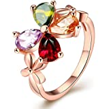Yellow Chimes Multicolor Crystal Swiss Zircon Ring For Women