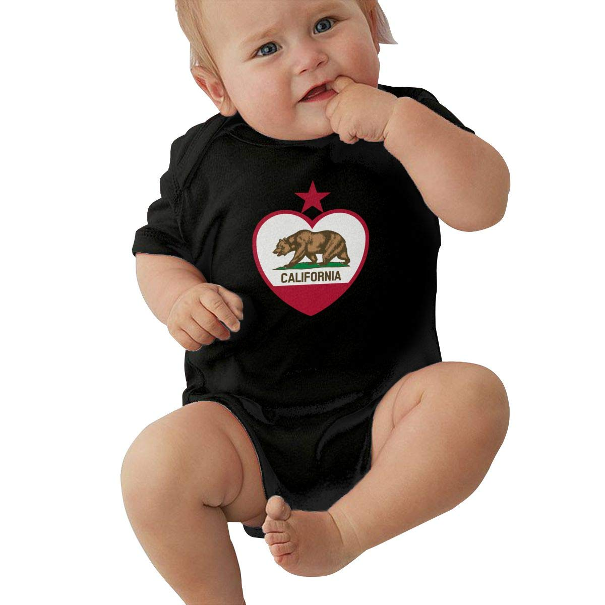 Dfenere California Flag Fashion Newborn Baby Short Sleeve Bodysuit Romper Infant Summer Clothing Black