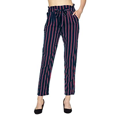 2LUV Women's Tie Belt Paper Bag Waist Casual Pants Stripes & Solid: Clothing