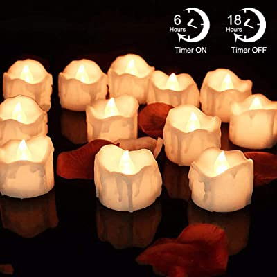 LED Timer Candles, 12pcs Battery Operated Flickering Flameless Tea Light Candles, Automatically 6 Hours On and 18 Hours Off Per Cycle for Thanksgiving Christmas Wedding Party Decoration, Warm White: Home Improvement