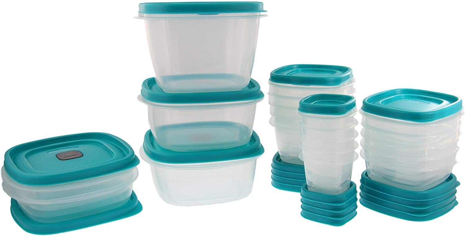 Rubbermaid Easy Find Lids Food Storage Containers with 5 NEW Vented Lids for Splatter Resistant Microwaving - BPA Free Food Containers, Storage Containers, Travel Size Containers - 40 Piece Set -Teal