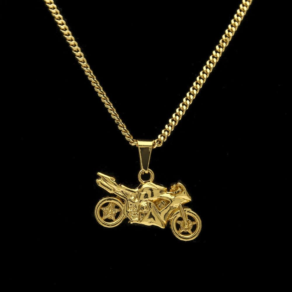 TIDOO Jewelry Hip Hop Mini Motorcycle Pendant Necklace 24 Inch for Men