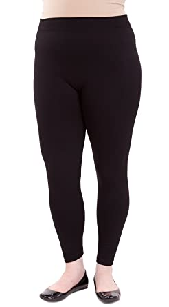 6f72bbfd105 Black Woman Plus Size Banded Waist Fleece Leggings at Amazon Women s ...